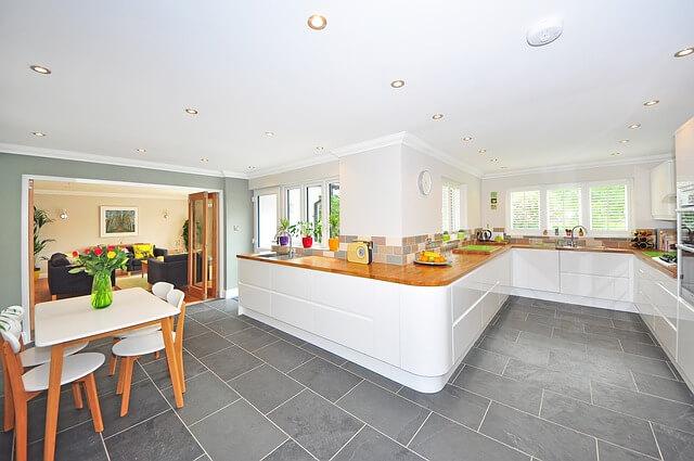 kitchen interior with luxury vinyl tile